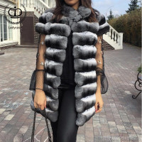 Real Fur Coat Natural Chinchilla Rex Rabbit Vest Coats Full Pelt Rabbit Fur Vest Genuine Leather Jackets Winter Overcoat RB 088