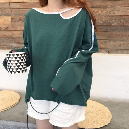 aa1103e28d52 Oversized Tshirt Women 2018 Autumn Japanese Korean Style Casual Loose Hollow  Out Tassel Long Sleeve Tops tee shirt femme T202