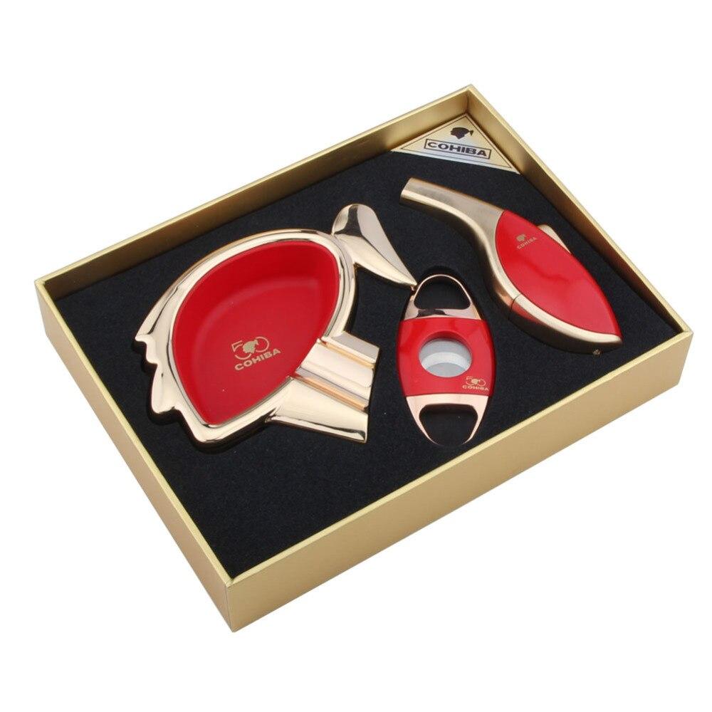 Allume cigare flamme rouge COHIBA + porte cigare + coupe cigare le 50th Annivesary pour COHIBA meilleur costume Cigarette Ciagr