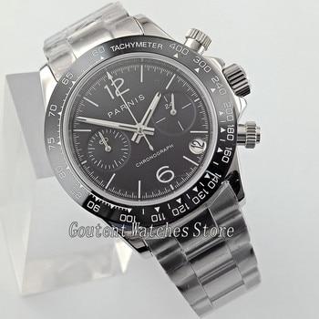 39mm Parnis Sliver Band Sapphire Glass Date full Chronograph Quartz Watch 2691