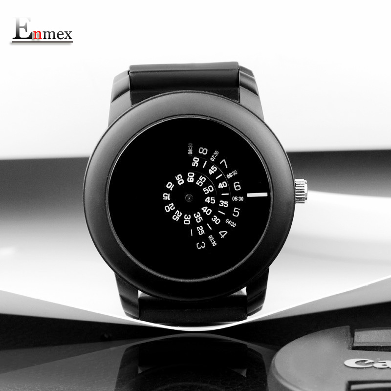 2017  gift Enmex creative style men wristwatch black camera concept cool design silicone band brief  casual  quartz  watch