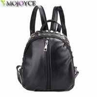 Small Women Backpacks Rivet Zipper Pu Leather Student Backpack Preppy Fashion Bag Girls Women's Backpack Female