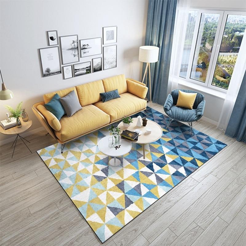 Nordic Geometric Minimalist Yellow Blue Area Rugs Carpets Living Room Bedroom Modern Large Anti Slip Floor Bedside Home Door Mat