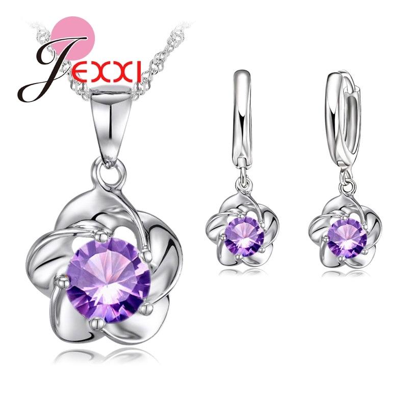 Luxus klasszikus 925 ezüst rózsa virág nyaklánc lila köbös cirkóniás fülbevalók menyasszony esküvői ékszerkészletek