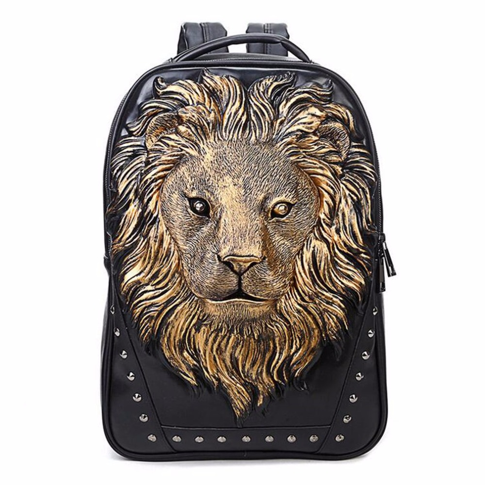 2018 NEW Fashionable Men Women Soft PU Leather Backpack Large Capacity Lion Head Decoration School Bag Notebook Laptop Backpack fashionable pu leather backpack for men