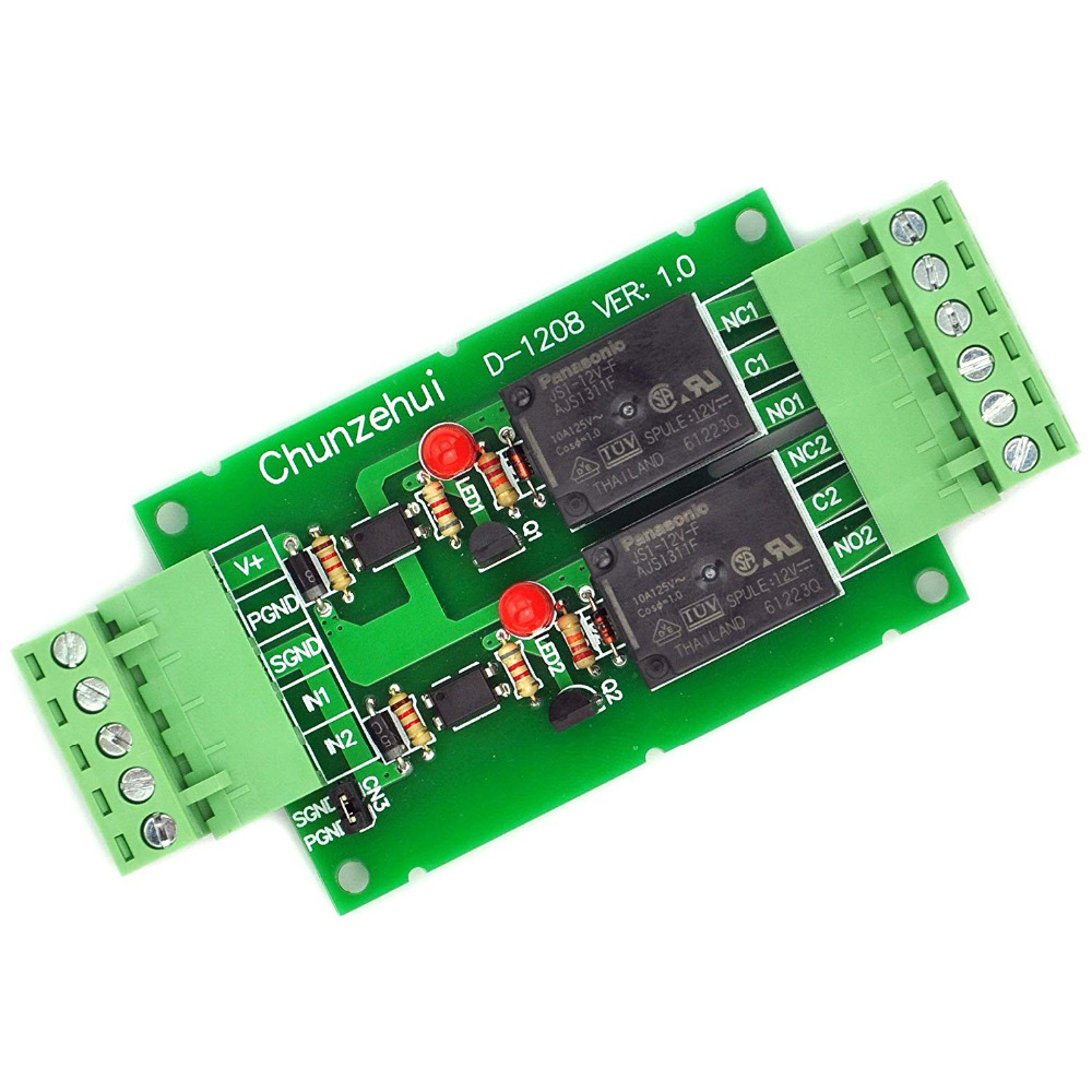 Electronics-Salon DC 12V Two Channel 10Amp Opto-Isolated Power Relay Module Board, Pluggable Terminal Block.