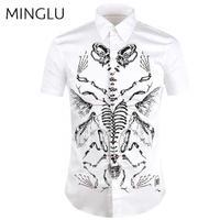Mens Slim Short Sleeve Dress Shirts Casual Stylish Bone Printed Shirts Luxury Brand Men Shirt Chemise Hombre Fashion Design 3XL