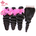 Brazilian Loose Wave Hair Weave 3 Bundles With Lace Closure 1pc 100% Human Remy Hair Queen Hair Products Bundle with Closure
