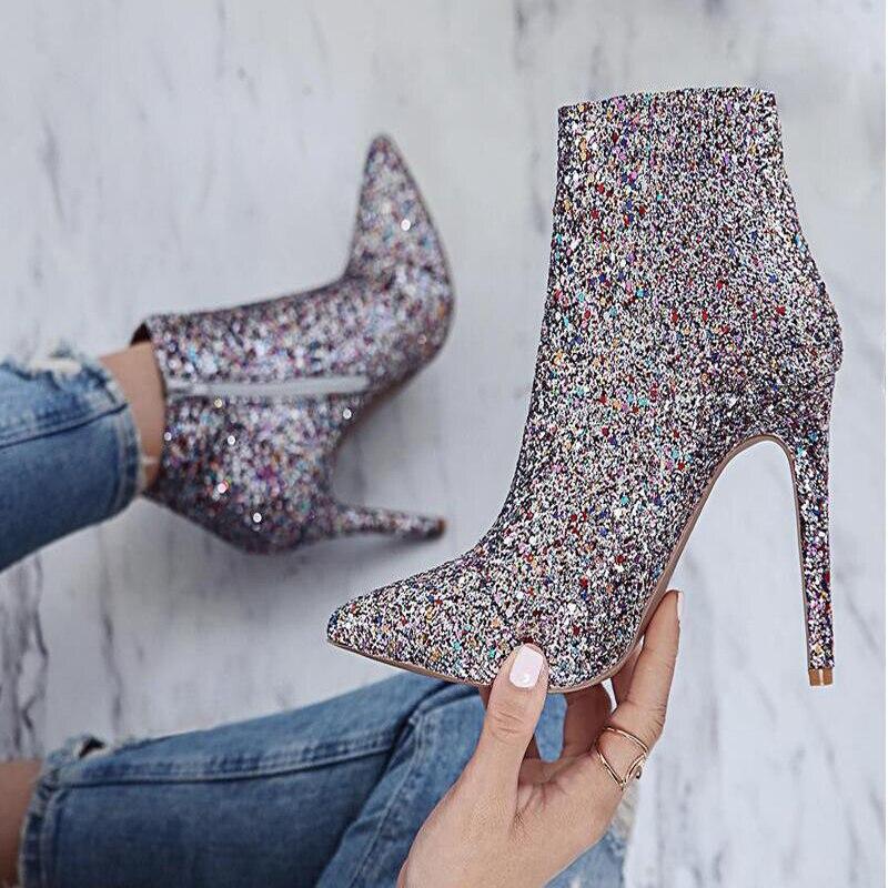 Bling Colors Zapatos Cremallera Punta Tacones Brillo Mujer De Botines Botas Otoño Lentejuelas Mixed Tobillo w5S6WAWq