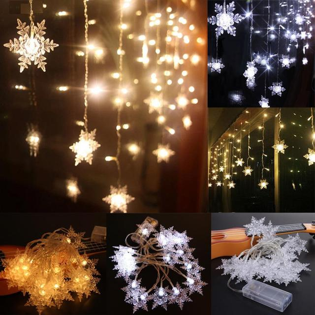 2m 20 led christmas snow fairy string lights wedding party garden christmas light outdoor decor cool