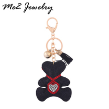 New Design  Bag Keychain Rhinestone Key Ring Bear With Heart  Pendant For Man Women Gift Wholesale
