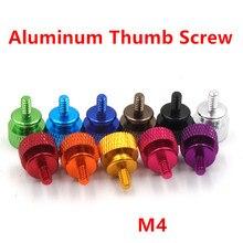10 pçs m4 alumínio passo polegar parafuso da caixa do computador parafuso knurled mão parafusos thumbscrews m4 anodizado 11 cores