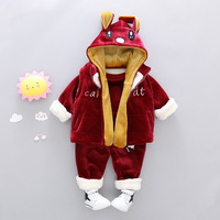 Winter Girls Clothes Sets Velvet Rabbit Long Sleeved hoody +pants Sports New year costumes Warm Children Clothing Kids Suit