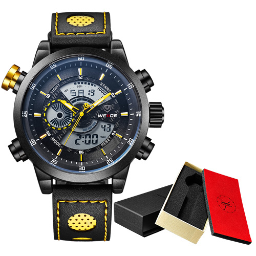 WEIDE Luxury Brand Fashion Sport Watch Analog Digital Display Waterproof Leather strap Gift Box Relogio Masculino Alarm Clock weide casual genuine luxury brand quartz sport relogio digital masculino watch stainless steel analog men automatic alarm clock