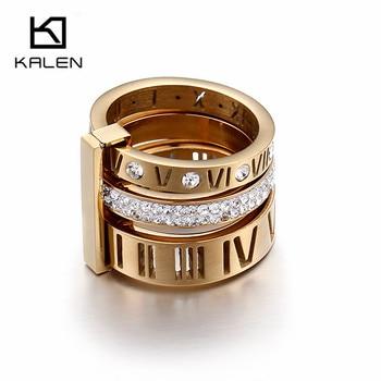 3385a619ed48 Calen 2017 anillos de diamantes de imitación para mujer de acero inoxidable  números romanos de oro anillos de dedo para mujer Anillos de Compromiso de  boda ...