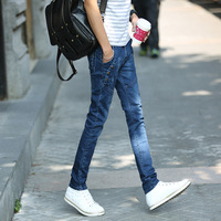 The new youth male jeans pencil pants slim jeans stretch tight pants men and boys fashion rivet