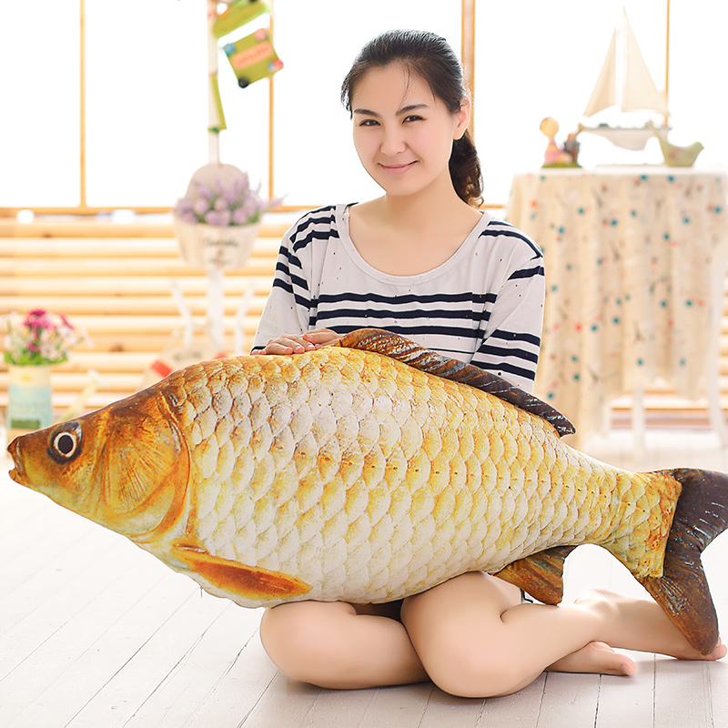 1pc 75cm Stuffed Pillow Cartoon 3D Simulation Plush toy Carp Dolls Kawaii Ceative Fish Pillow for Children Birthday Gifts цена 2017