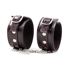 купить Metal PU Leather Handcuffs Slave Fetish Sex Toys For Couples Bondage Hand Cuffs Adult Games Bdsm Restraints Tools Sex Game по цене 321.45 рублей