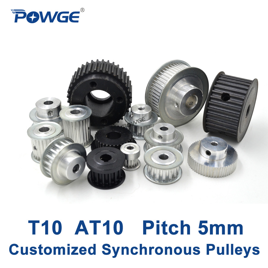 POWGE Trapezoid T10 AT10 Synchronous Pulley Pitch 10mm Gear wheel Manufacture Customizing all kinds of  T10 AT10 Timing pulley m75 750kgs pulley 304 stainless steel roller crown block lifting pulley factory direct sales all kinds of driving pulley