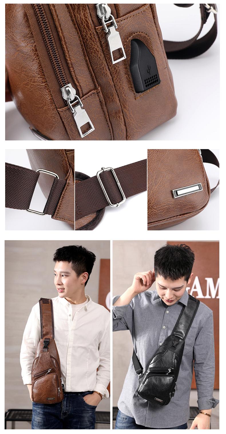Men's Crossbody Bags Men's USB Chest Bag Designer Messenger bag Leather Shoulder Bags Diagonal Package 2019 new Back Pack Travel 11