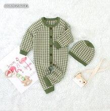 محبوك الطفل ملابس الخريف الشتاء الطفل رومبير مع قبعة طفل صبي فتاة رومبير القطن الرضع طفل بذلة فتاة الفتيان الملابس