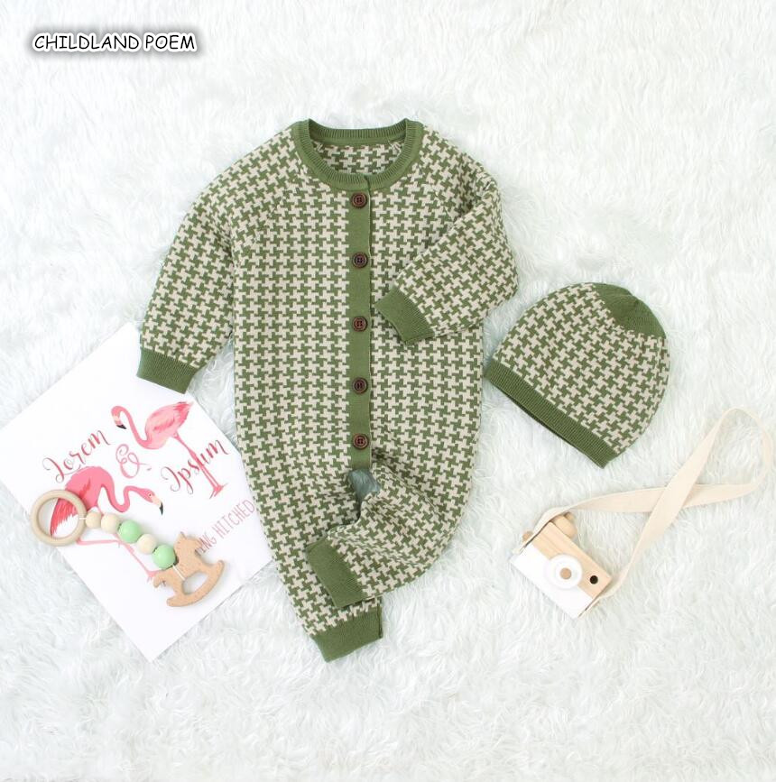 Knitted Baby Clothes Autumn Winter Baby Romper With Hat Baby Boy Girl Romper Cotton Infant Baby Jumpsuit Girl Boys Clothes