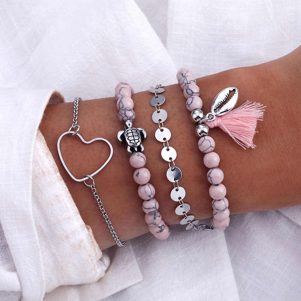 Vienkim Vintage Pink Beaded Turtle Heart Bracelet 2019 Ms. Bohemia Geometric Multilayer Bracelet Jewelry Wholesale Dropshipp