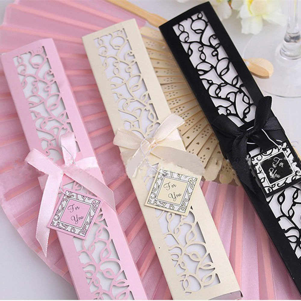 1pcs Luxurious Silk Fold hand Fan in Elegant Laser-Cut Gift Box (Black;White ; pink) +Party Favors/wedding Gifts