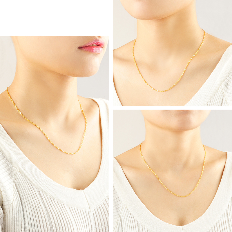 Image 3 - DCZB 24K Pure Gold Necklace Real AU 999 Solid Gold Chain Nice Water Ripple Upscale Trendy Classic Fine Jewelry Hot Sell New 2019-in Necklaces from Jewelry & Accessories