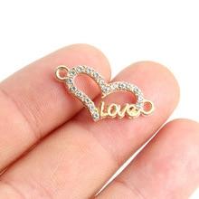TJP 10pcs Antique Gold Tone Love Heart Connectors Charm Pendants Hollow Open for DIY Bracelet Jewelry Making Findings 25x11mm