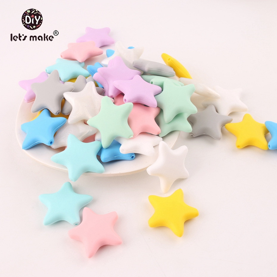 Let's Make 10pcs Star Silicone Baby Teething DIY Necklace Made Accessories BPA Free Food Grade Teether Chew Beads Baby Teether