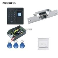 Porta de madeira DIY Set Kit Sistema de Controle de Acesso + Greve Door Lock + Teclado + Botão Exit + 10 keyfobs