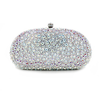 Exclusive supply 100% pure handmade women luxury Exquisite silver Handbags female day clutches party nightclub prom business bag