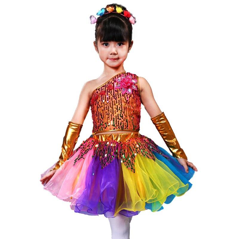 Children Ballet Dance Costumes For Girls Sequins Jazz Dance Dress Kids Modern Dance Performance Dance Girl Stage Dancewear