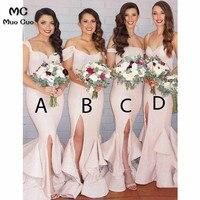 2018 Mermaid Wedding Party Dress Bridesmaid Dress Long with ABCD Design Satin Ruffles Short Sleeve Women Bridesmaid Dresses
