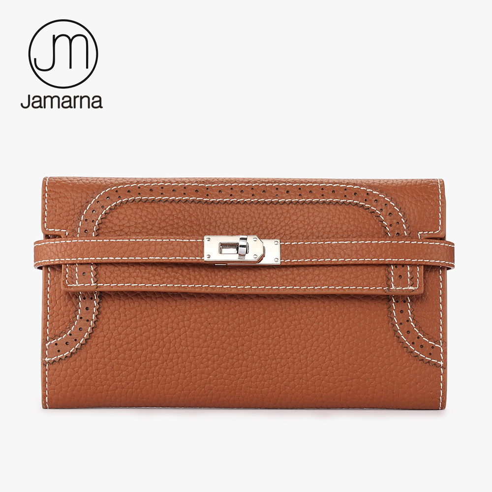 Jamarna Women Wallet Genuine Leather Clutch Vintage Female Long Coin Purse Credit Card Holder Hollow Out Design Wallet Brand New high quality first layer soft genuine leather men s credit card holder clutch wallet phone purse vintage design long wallets