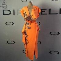 Оранжевые эластичные платья для выпускного вечера из сатина длиной до середины икры, v образный вырез, оборки, арабский женский наряд для оф