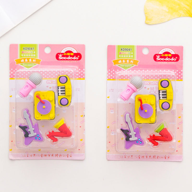 10 Set/lot Creative Parties For Musical Instruments Blister-card Eraser / Rubber Eraser Suit / Student Eraser/toy Children Gift
