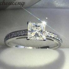 Choucong Брендовое женское 925 пробы Серебряное кольцо Принцесса огранка 1ct 5A Циркон Cz Обручальное кольцо кольца для женщин подарок