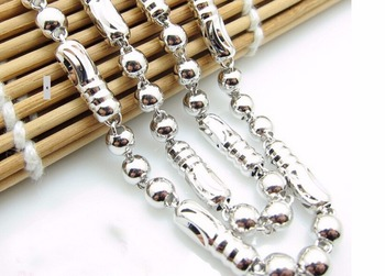 Hot sale fashion  19 inch Pure 925 Sterling Silver Men's Beads Necklace chain Heavy 18.54g
