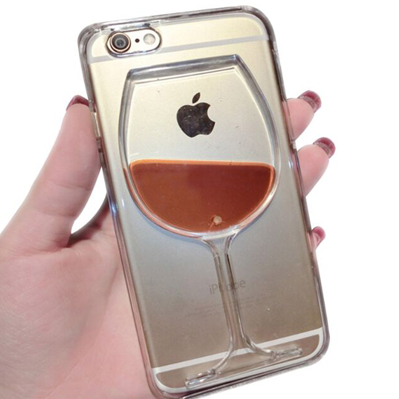Women Party Girl Red Wine Cup Flowing Liquid Transparent Case Cover for iPhone 5C 5 5S 6 6S Plus Phone Cases Replica Back Covers