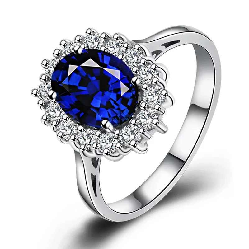 Instant Love Princess Diana William Kate Middleton 3.2ct Creative Blue Engagement  Ring Female
