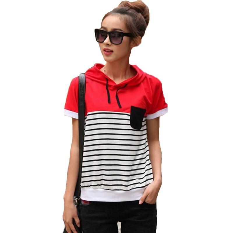 Ankunft Frauen Gestreiften Neue Baumwolle Kurzarm T Shirt OZPlwkXiuT