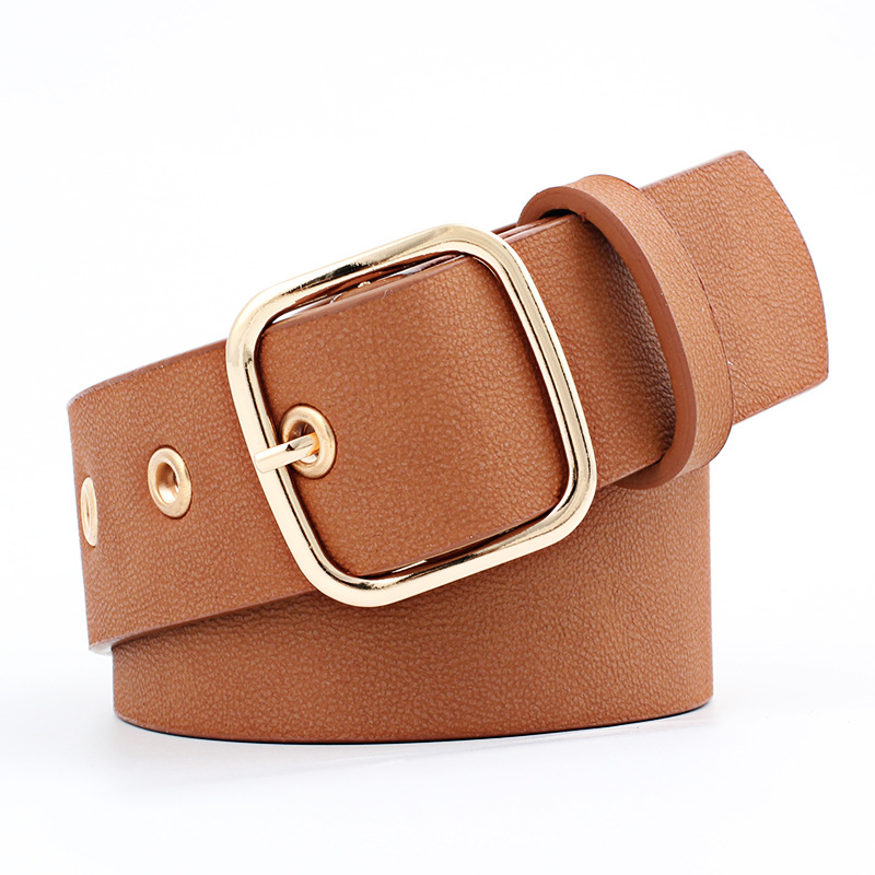 OLOME 105x3.5cm Wide Belt Leather Women Gold Pin Buckle Black White Female Waist Belts Strap For Jeans