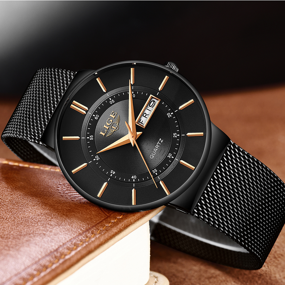 Image 2 - Mens Watches LIGE Top Brand Luxury Waterproof Ultra Thin Date Clock Male Steel Strap Casual Quartz Watch Men Sports Wrist Watch-in Quartz Watches from Watches