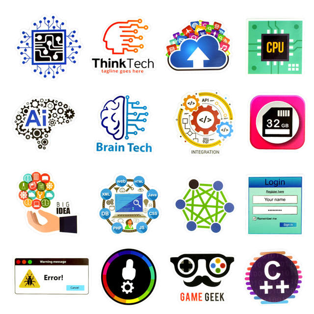 US $2 6 32% OFF 50 PCS Programming Sticker Technology Software Programs  Data Creative Stickers for Geek DIY Computer Laptop Phone PS4 Notebook-in