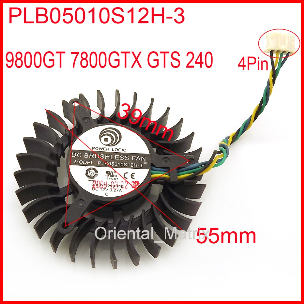 Free Shipping PLB05010S12H-3 12V 0.27A 55mm For XFX 9800GT 7800GTX GTS 240 Graphics Card Cooling Fan 4Wire 4Pin beko dfs 05010 s