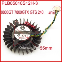 Free Shipping PLB05010S12H 3 12V 0.27A 55mm For XFX 9800GT 7800GTX GTS 240 Graphics Card Cooling Fan 4Wire 4Pin|graphics card cooling fan|graphic card cooling|card cooling -