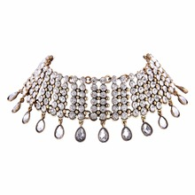 Luxury Created Diamond Rhinestone Choker Necklaces Wide Chocker Maxi Necklace For Women Statement Jewelry Collier Femme