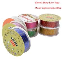 1Pcs Kawaii Shiny Lace Tape Book Decor Washi Tape Scrapbooking Card Self Adhesive Tape DIY Masking Tape office school supplies